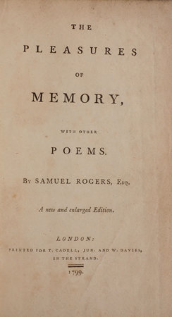 The Pleasures of Memory, with other Poems … A new and enlarged Edition. by ROGERS, Samuel.