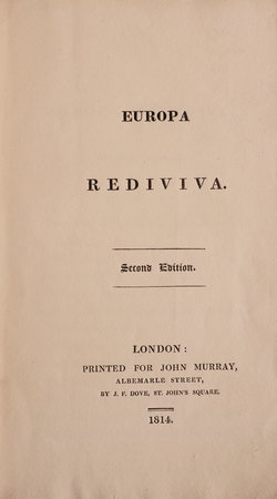 Europa rediviva. Second Edition. by [KNIGHT, Henry Gally].