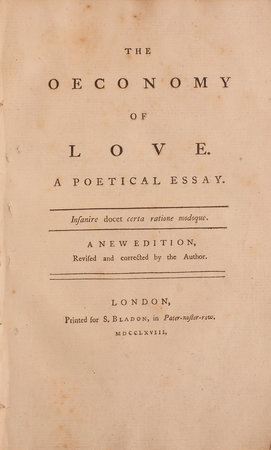 The Oeconomy of Love. A poetry Essay … A new Edition, revised and corrected by the Author. by [ARMSTRONG, John].
