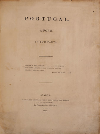 Portugal. A Poem. In two parts. by [GRENVILLE, George Nugent].