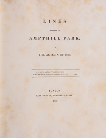 Lines written at Ampthill Park in the Autumn of 1818. by LUTTRELL, Henry.