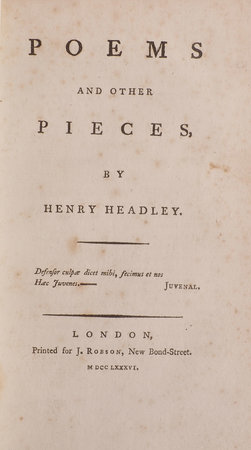 Poems and other Pieces … by HEADLEY, Henry.