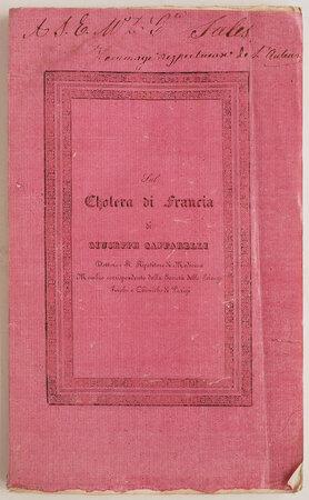 Sul cholera di Francia. by CAFFARELLI, Giuseppe.