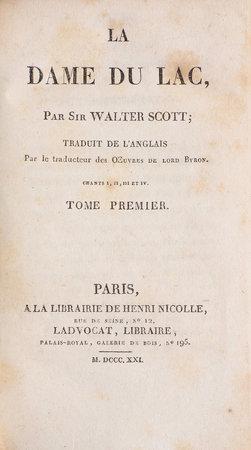 La Dame du Lac. by SCOTT, Sir Walter.