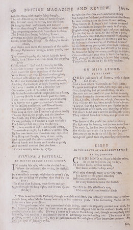 An Elegy on the Death of Mr. Robert Levet by Dr. Johnson in] The British Magazine and Review or Universal Miscellany, August, 1783 [in the complete Vol. 3]. by [JOHNSON, Samuel.