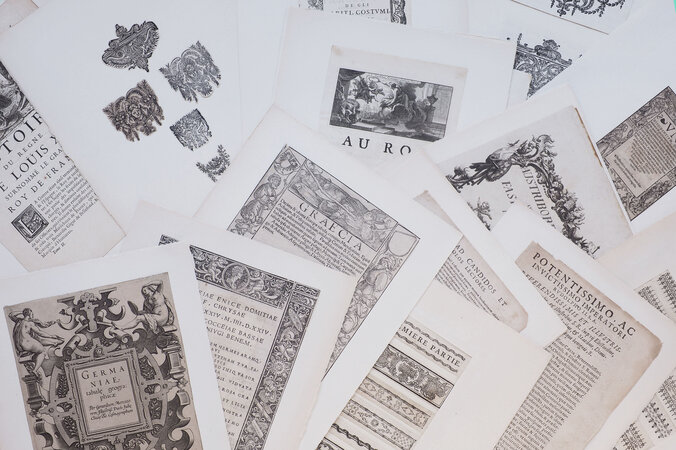A quantity of mounted cuttings of typography, ornaments, decorative initials, plates and title-pages from European books. by (TYPOGRAPHY & PRINTING TECHNIQUES).
