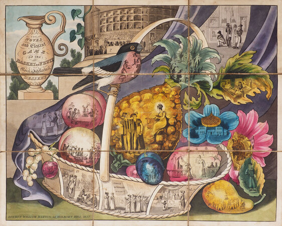 The novel and elegant Game of the Basket of Fruit or moral and intellectual Dessert. [The Delicious Game of the Fruit Basket containing a literary treat for a party of Juveniles... (slipcase title)]. by (GAME). DARTON, William, publisher.