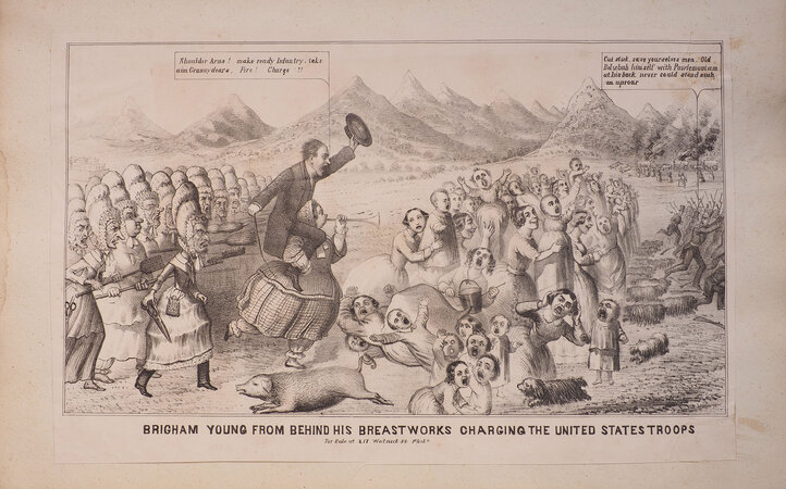 Brigham Young from behind his Breastworks charging the United States Troops. by (MORMONISM).