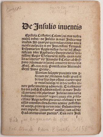 [Epistola de insulis nuper inventis]. by (COLUMBUS LETTER FACSIMILE). PILINSKI, Adam, publisher. COLUMBUS.