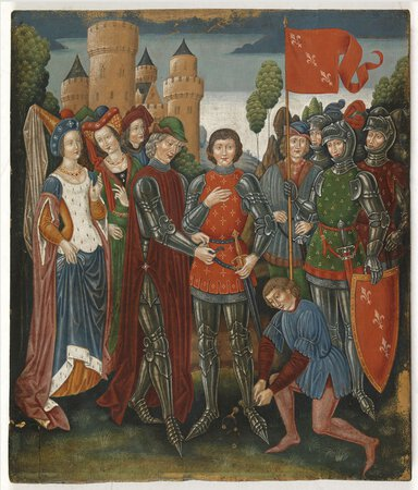 A Knighting Ceremony or Joan of Arc. by (SPANISH FORGER).