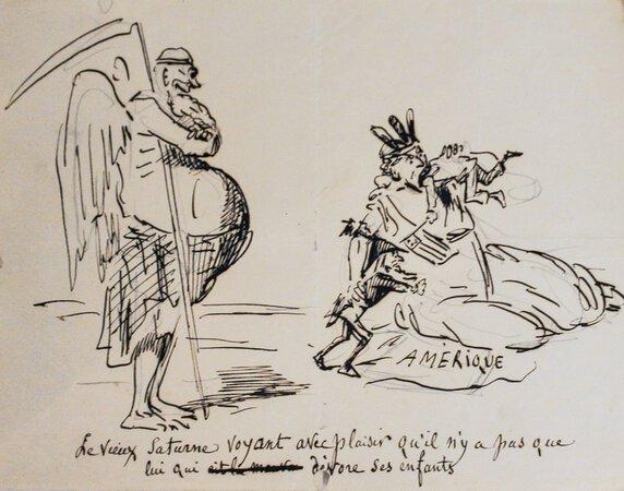 Three original caricatures. by (AMERICAN CIVIL WAR). CHAM [pseudonym of Charles Amédée de NOÉ].