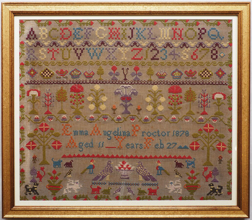 [Embroidered sampler by PROCTOR, Emma Angelina.
