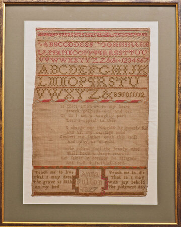 [Embroidered sampler. by FULTON, Anna.