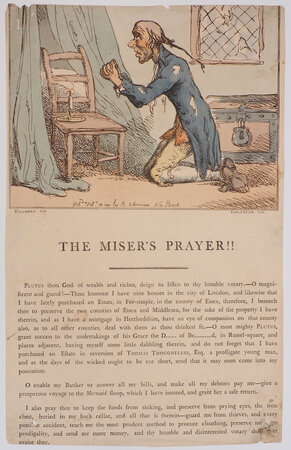 The Miser's Prayer!! by ROWLANDSON, Thomas after George Moutard WOODWARD.