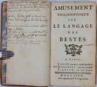 Amusement Philosophique sur le Langage des Bestes. by BOUGEANT, Guillaume-Hyacinthe S.J. (1690-1743)