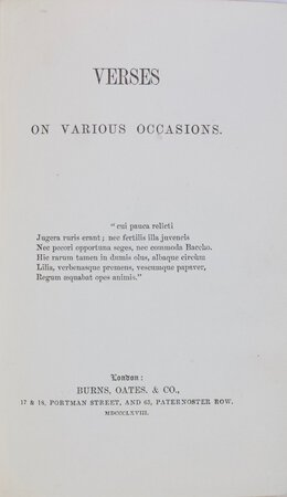 Verses on Various Occasions by [NEWMAN, John Henry Cardinal (1801-90)]