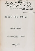 Notes from a Trip Round the World. by CARNEGIE, Andrew.