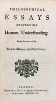 Philosophical Essays concerning Human Understanding, by the author of the Essays Moral and Political. by HUME, David.