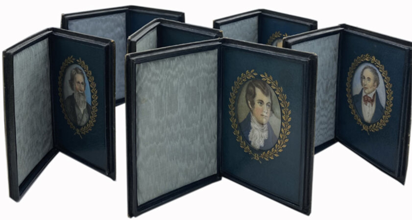 Collection of six Cosway-style portraits of Burns, Wordsworth, Ruskin, Longfellow, Whittier and Francis Bacon each in a straight-grain morocco case. by COSWAY-STYLE PORTRAITS OF POETS.