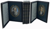 Another image of Collection of six Cosway-style portraits of Burns, Wordsworth, Ruskin, Longfellow, Whittier and Francis Bacon each in a straight-grain morocco case. by COSWAY-STYLE PORTRAITS OF POETS.