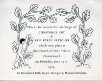 Wedding memorial card for Constance Fry and Ifan Kyrle Fletcher. by GILL, Eric.
