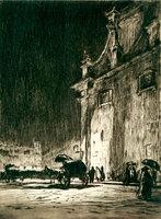 A Rainy Night in Rome. by BONE, David Muirhead. (1876-1953)