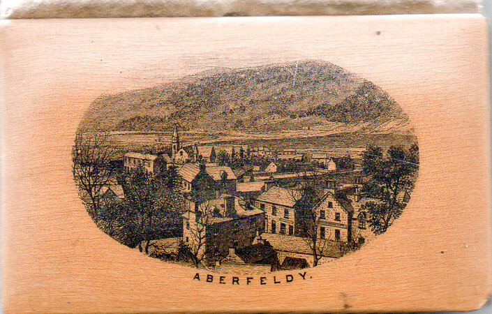 Souvenir from Aberfeldy. by MAUCHLINE WARE BINDING. SEWING CASE.