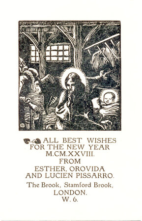 New Year card from Esther, Orovida and Lucien Pissarro, 1928. by PISSARRO, Lucien (1863-1944)