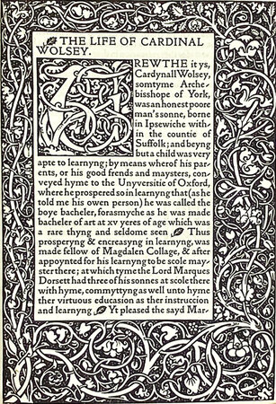 The Life of Cardinal Wolsey. by KELMSCOTT PRESS. CAVENDISH, George.