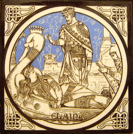 Six Minton tiles inspired by Tennyson's 'Idylls of the King'. by MOYR SMITH, John.