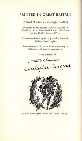 Cock-a-Hoop, a sequel to Chanticleer, Pertelote, and Cockalorum being a bibliography of the Golden Cockerel Press, September 1949-December 1961, with a list of Prospectuses 1920-62. by GOLDEN COCKEREL PRESS. CHAMBERS, David & SANDFORD, Christopher.