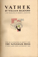 Vathek. by NONESUCH PRESS. BECKFORD, William.