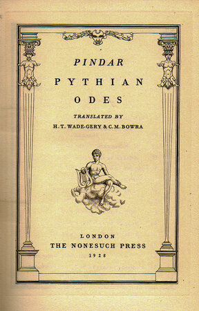 Pythian Odes. by NONESUCH PRESS. PINDAR. GOODEN, Stephen.