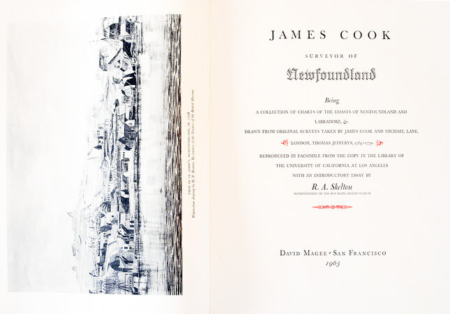 James Cook, Surveyor of Newfoundland, being a collection of charts of the coasts of Newfoundland and Labradore, &. Drawn from original surveys taken by james Cook and Michael Lane. by GRABHORN PRESS. COOK, James. SKELTON, R.A.