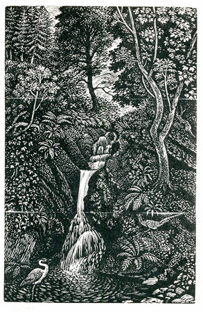 Heron at the Waterfall. by STONE, Reynolds. (1909-1979)