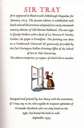 Sir Tray, An Arthurian Idyl. by BULLNETTLE PRESS. HAMLEY, Sir Edward.