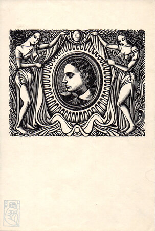 Title page portrait of Keats for Endymion. by BUCKLAND WRIGHT, John.