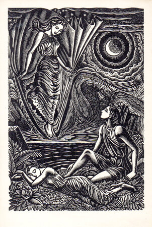 Cynthia appears to Endymion. by BUCKLAND WRIGHT, John.