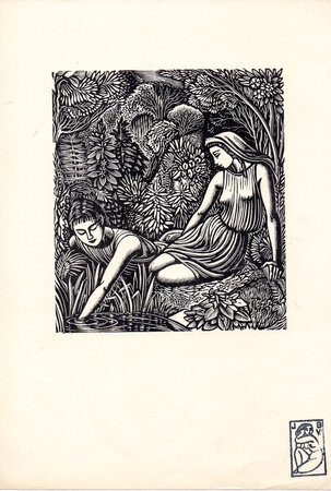 Endymion and the Indian Maiden by a Pool. by BUCKLAND WRIGHT, John.