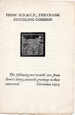 Christmas Card From H.D. & C. P., The Crank, Ditchling Common. Christmas 1925. by S. DOMINIC'S PRESS. PEPLER, H.D & C.