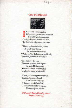 The Dormouse. by ST. DOMINIC'S PRESS. RHYME SHEET No. 4.