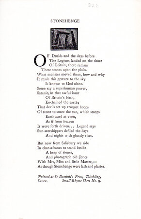 Stonehenge. by ST. DOMINIC'S PRESS. Small Rhyme Sheet No. 9.