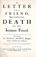 Letter to a Friend, upon occasion of the Death of his Intimate Friend. by HASLEWOOD BOOKS. BROWNE, Sir Thomas.