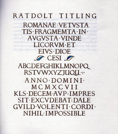 Ratdolt Titling. A Victor Hammer font comes to fruition. by HAMMER, Victor.