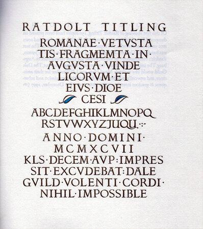 Ratdolt Titling. A Victor Hammer font comes to fruition. by HAMMER, Victor.