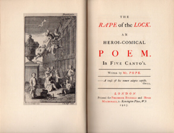 The Rape of the Lock. An Heroi-comical Poem in Five Cantos. by HASLEWOOD BOOKS. POPE, Alexander.