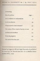 Work & Property &c by GILL, Eric. TEGETMEIER, Denis.