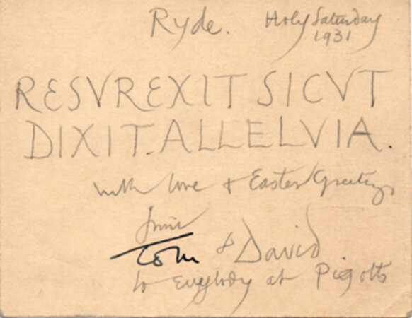 Easter inscription in a manuscript postcard signed to Eric Gill by JONES, David. GILL, Eric.