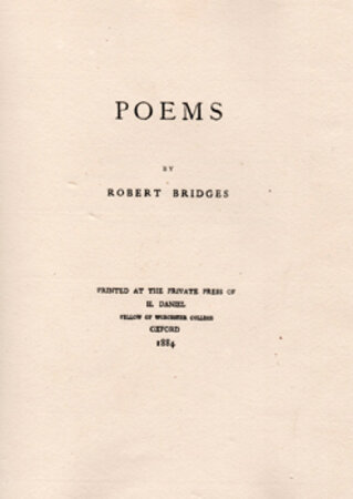 Poems by Robert Bridges. by DANIEL PRESS. BRIDGES, Robert.