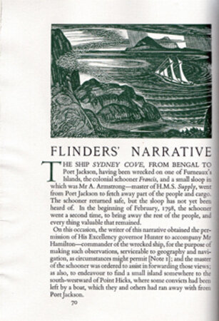 Matthew Flinders' Narrative of his Voyage in the Schooner Francis: 1798. Preceded and followed by notes on Flinders, Bass, the Wreck of the Sidney Cove, &c by Geoffrey Rawson. by BUCKLAND WRIGHT, John. GOLDEN COCKEREL PRESS.